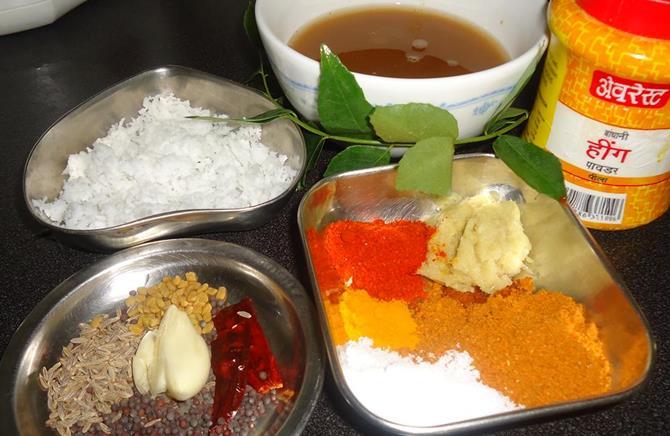 coconut tamarind red chili powder for drumstick sambar recipe