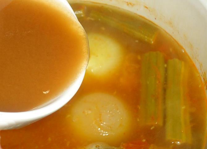 addition of tamarind in drumstick sambar recipe