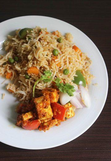 tawa pulao with kadai paneer