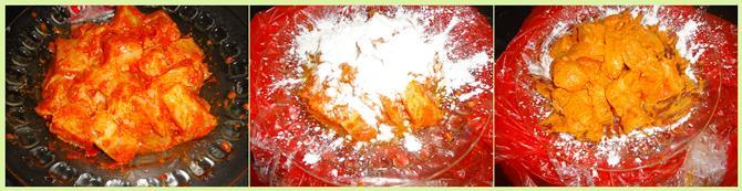 sprinkling flour to coat apollo fish fry