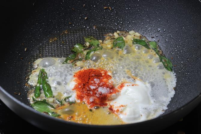 addition of yogurt to make cauliflower 65 recipe 10