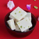 badam burfi (almond burfi) recipe, how to make badam burfi (no milk, no ghee)