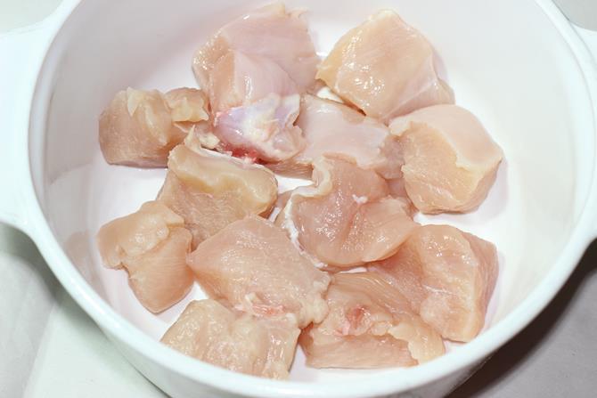 cleaned boneless chicken for reshmi kabab recipe