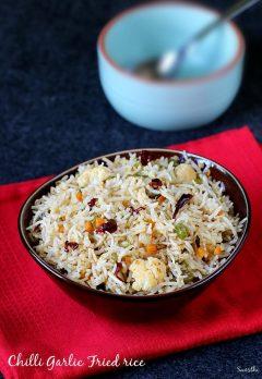 chilli garlic fried rice, how to make chilli garlic veg fried rice