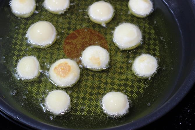frying gulab jamun balls