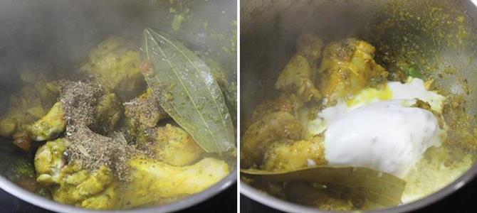 addition of masala powder curd for chicken biryani recipe