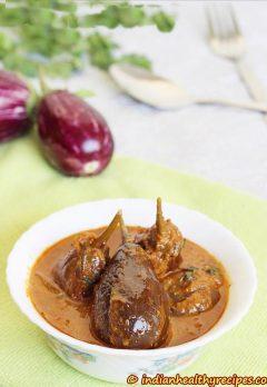 Gutti vankaya kura or curry | stuffed brinjal curry | enne badanekai