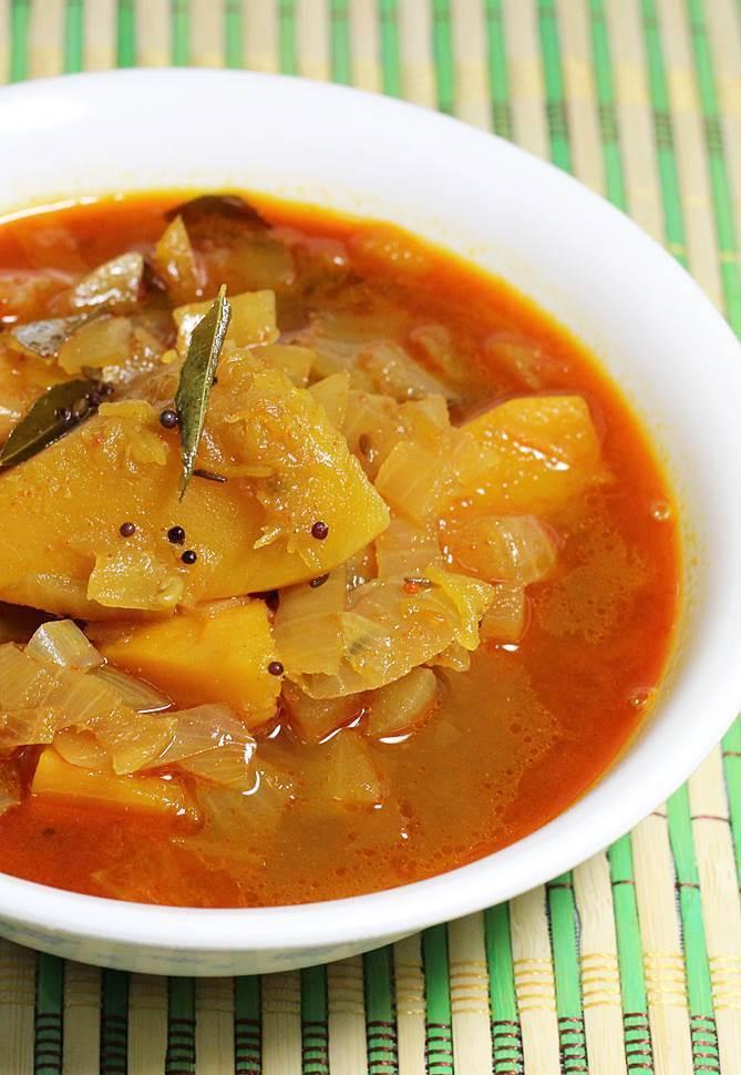 serve rice, pappu and gummadikaya pulusu