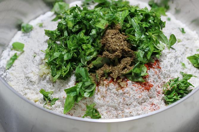 flour garlic chili leaves to make dough for methi paratha recipe