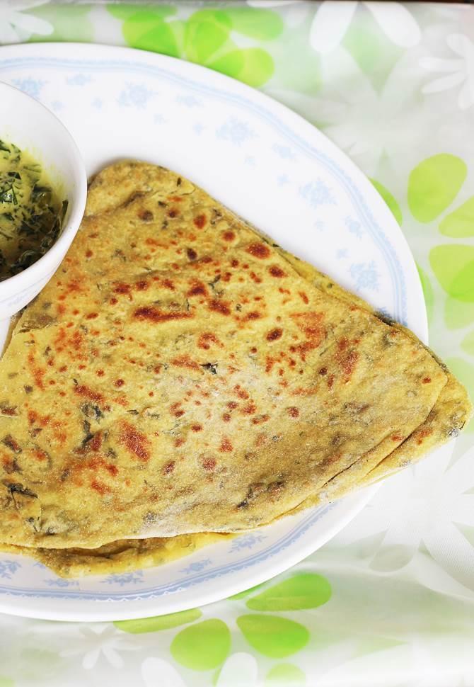 garnishing serving parantha recipe