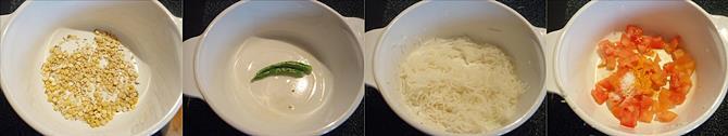 sauteing ingredients in oil to make radish chutney recipe