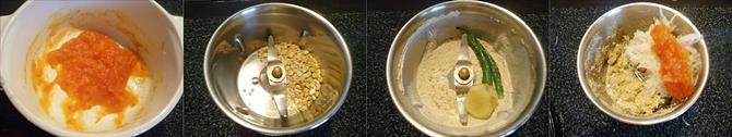 blending ingredients in jar to make radish chutney