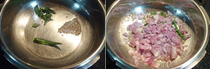 seasoning frying onions to make kodi kura iguru 1