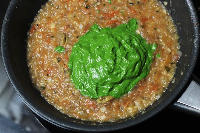 cooking gravy to make palak paneer recipe