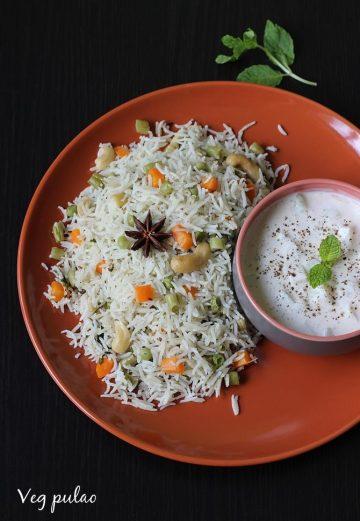 Veg pulao or vegetable pulao recipe with coconut milk   Coconut milk pulao