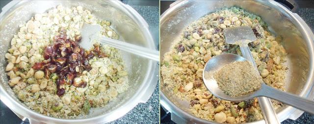 saute dry dates elaichi for making dry fruits laddu recipe 3
