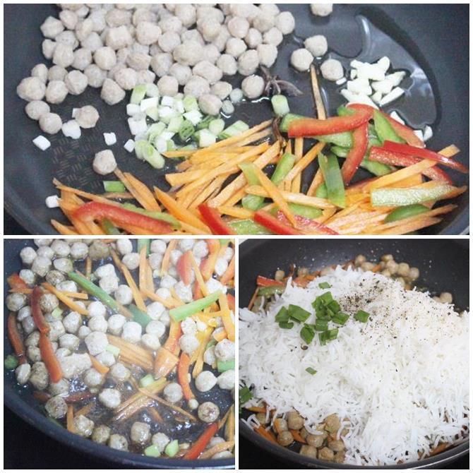 how to make soya chunks fried rice