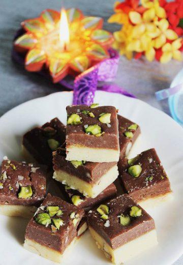 chocolate khoya burfi recipe