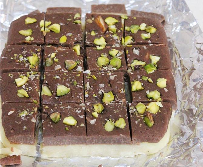 refrigerate chocolate burfi until set