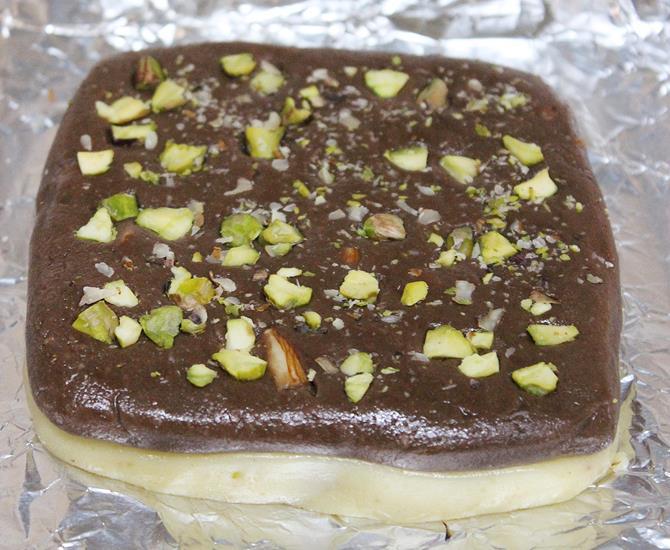 knead mixture after cool for khoya chocolate burfi recipe