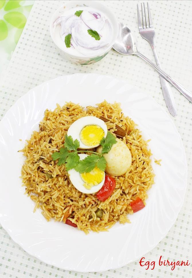 Serve delicious egg biryani with simple raita