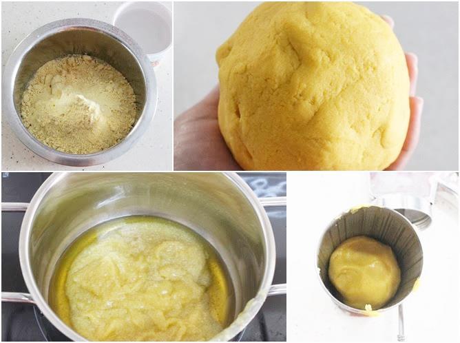 kneading the dough to make bandar laddu recipe 01