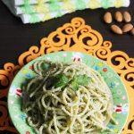 Spaghetti with Almond Mint Pesto
