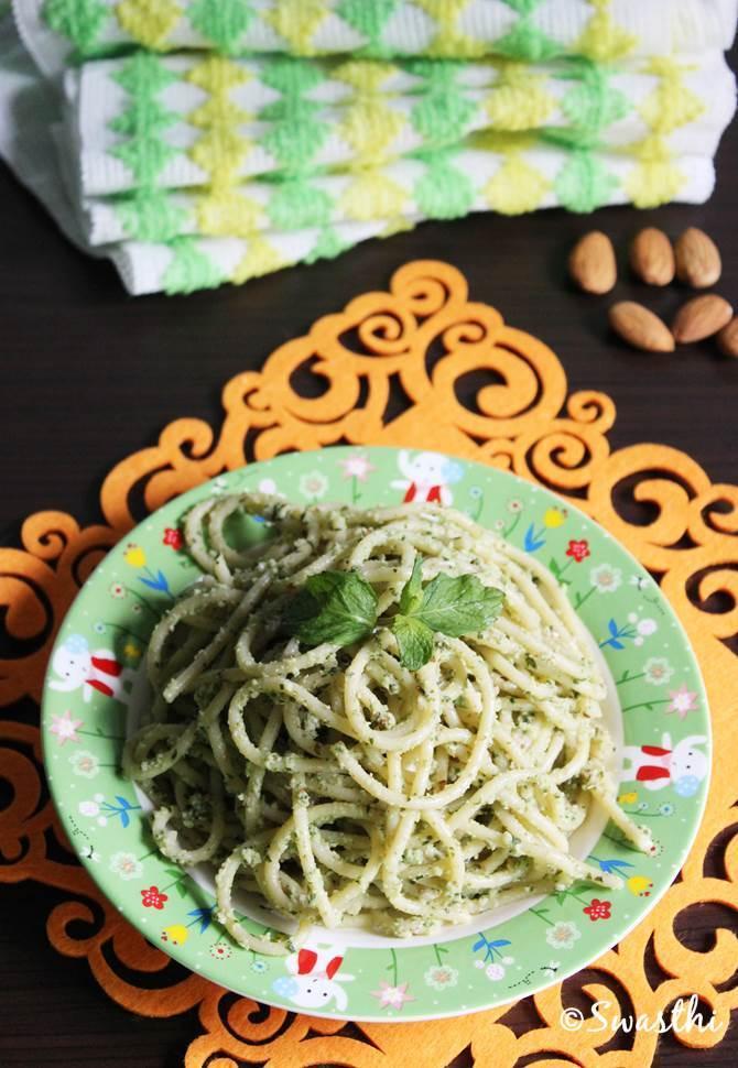 vegetarian spaghetti recipe with almond mint pesto