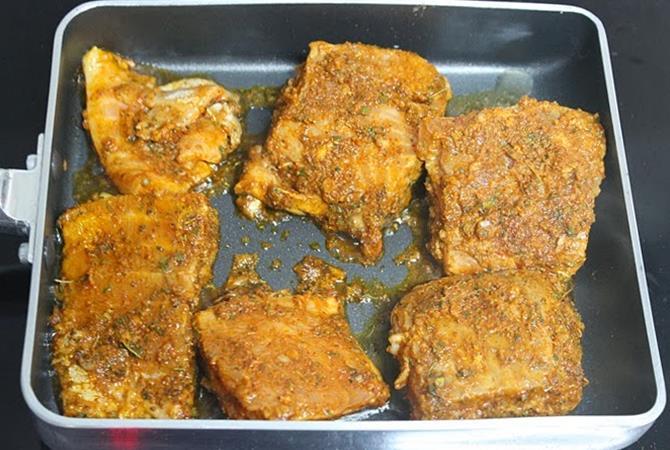 sauteing carom seeds to make amritsari tawa fish fry