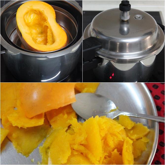 pressure cooking veggies to make kaddu ka halwa step 1