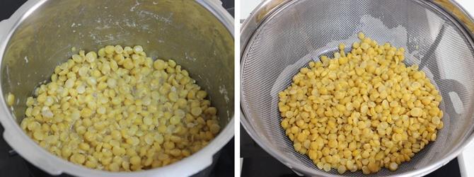 draining dal in colander for poornam boorelu recipe