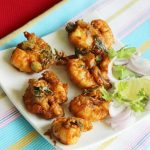 Spicy prawn pakora recipe, how to make prawn pakora (prawn fritters recipe)
