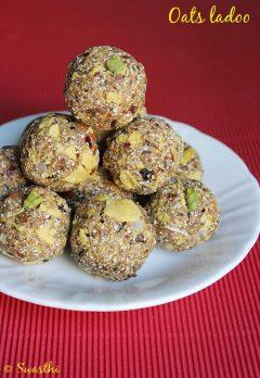 Oats dry fruits ladoo recipe, low fat Indian sweet recipes