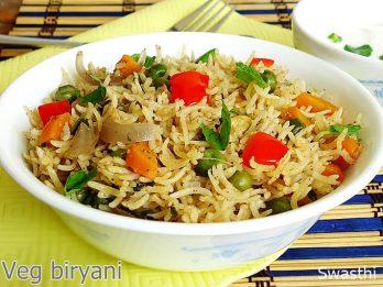 Vegetable biryani in pressure cooker recipe | How to make veg biryani