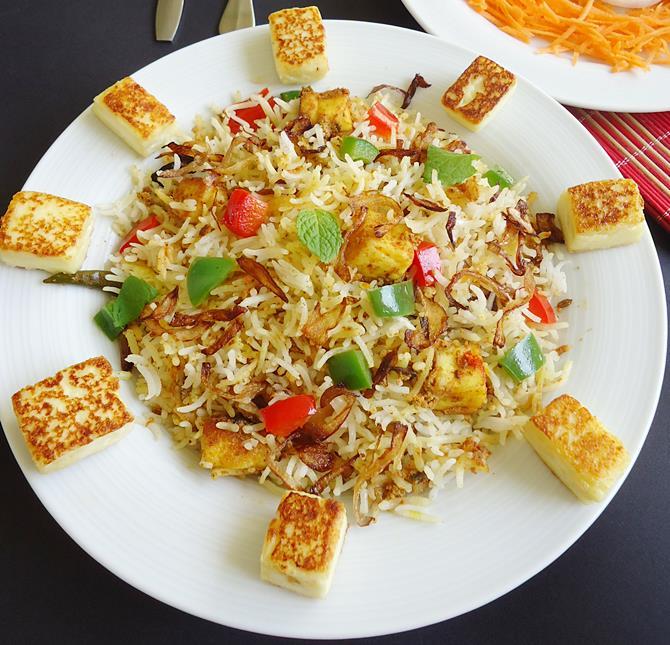 dum style paneer biryani recipe