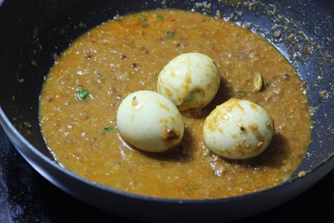 addition of water to make gravy for egg masala gravy