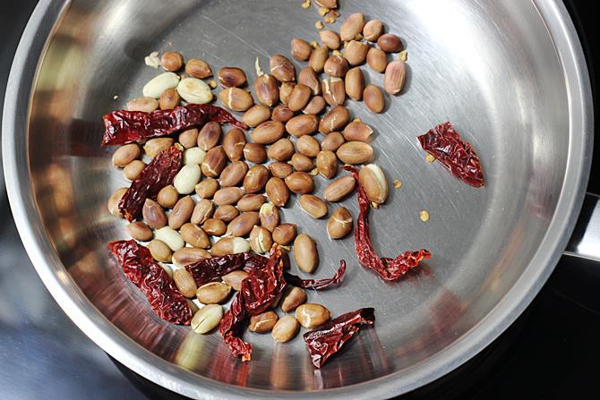 roasting peanuts for gutti vankaya kura