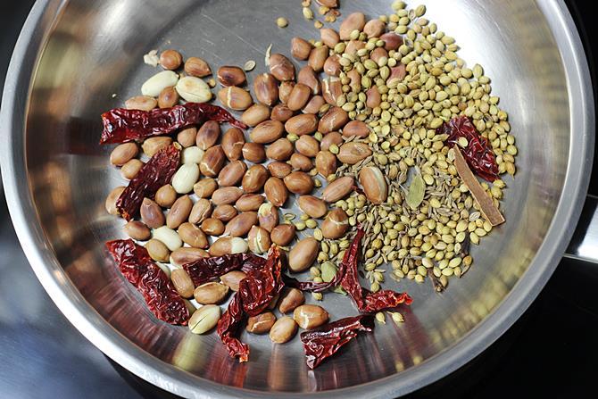 roasting spices chili for gutti vankaya kura recipe