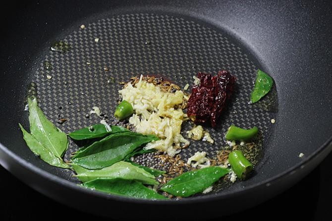 saute ginger garlic for moong dal recipe