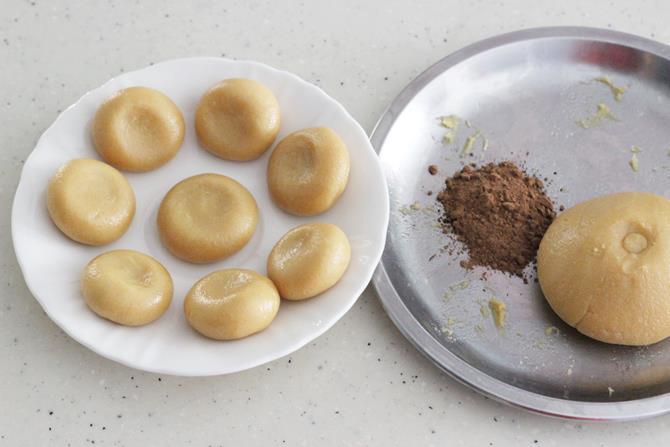 kneading dough make balls for milk peda recipe