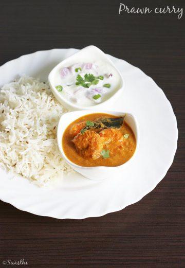 prawn curry recipe, how to make prawn curry (prawn masala)