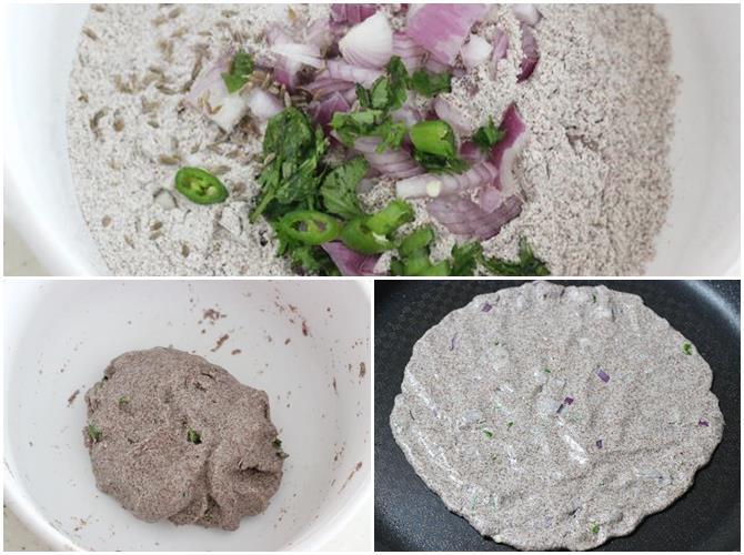 making dough using flour for ragi roti