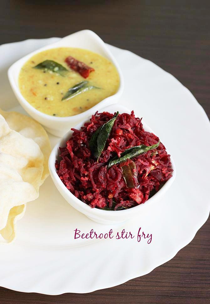 serving beetroot curry or stir fry with rice or roti