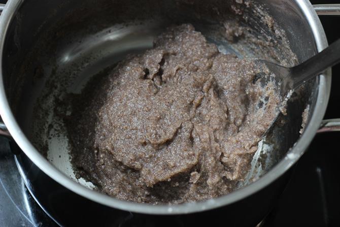 break up the lumps stir for making ragi mudde dough