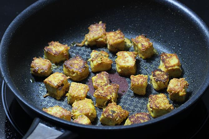 grilling veggies on tawa for paneer tikka masala