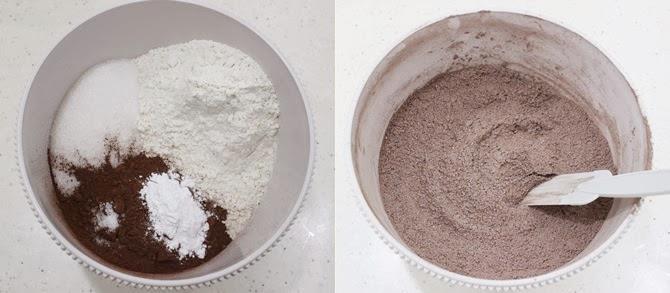making the dry ingredients to bake hersheys chocolate cake recipe