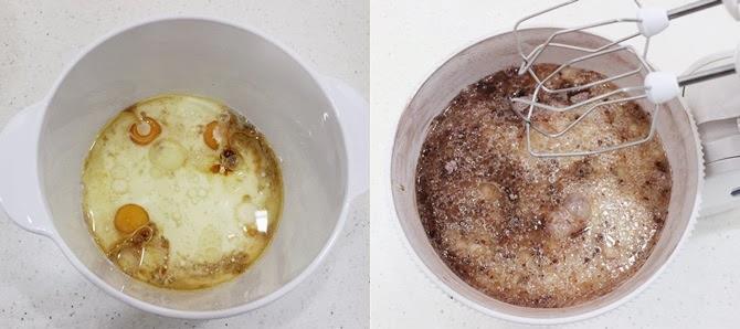 preparing the wet ingredients to bake hersheys chocolate cake recipe