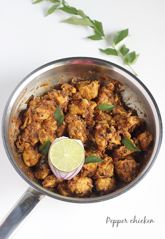 garnished pepper chicken dry to serve as starter or appetizer