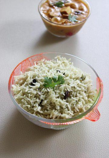 Pudina rice recipe   How to make pudina rice or pudina pulao