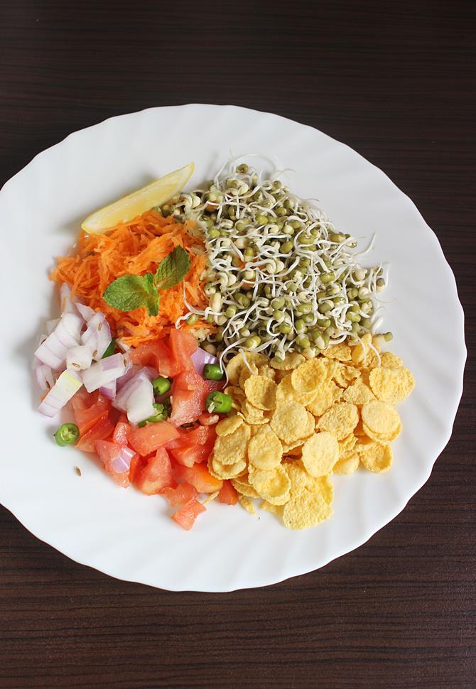 cornflakes lemon salt for making moong sprouts salad